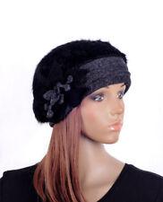 M492 Black Grey Women Cute Flower Soft Faux Fur Winter Beret Beanie Hat SKI Cap