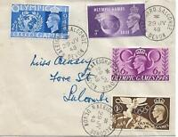 King George VI Olympic Games set of four on 29 July 1948 first day cover  1596