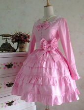 Cosplay Sweet Love Lolita Alice Vintage Bowknot Pink Gown Dress