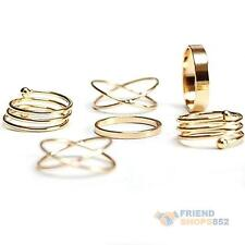 6Pcs femmes hommes midi anneaux multiples finger stack knuckle ring fashion jewelry