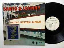 SANTO & JOHNNY Around the World LP PROMO Rock Instrumental VG++ vinyl   Lc217