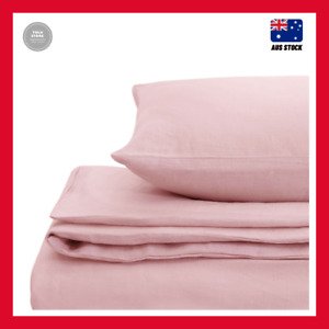 Natural Home Linen Super King Bed Quilt Cover Set - Pink
