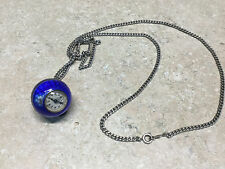 Antique C Bucherer Guilloche Pendant Ball Sterling Silver Enamel Watch Blue .925