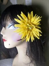Rockabilly pin-up large yellow flower with feathers handmade one of a kind sugar