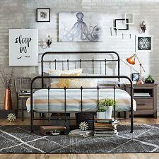 Queen Size Bed Frame Metal Headboard Footboard Adjustable Height Antique Rustic