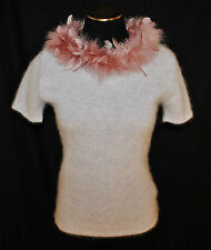 RARE CHIC VTG 90s Fitted Gray Angora Pink Feather Boa Neck Line Sweater sz M