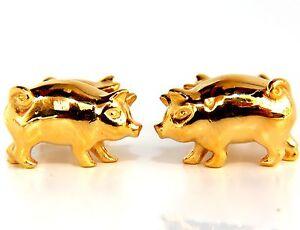 22KT RARE 3D BOAR PIG CUFFLINKS / HIGH SHINE & AMAZING DETAILS+
