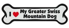 Dog Bone Shaped Car Magnets: I Love My Greater Swiss Mountain Dog