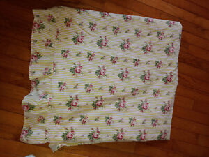 Ralph Lauren Sophie Brooke Yellow Floral Striped Flat Ruffle Sheet Queen Size