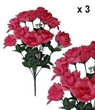 "Pink Microfiber Rose 20"" Bush (Pack of 3) Wedding Party Home Decor Silk Flower"