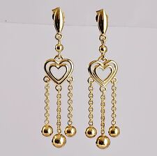 "GOLD EARRINGS GENUINE 9K 375 9CT GOLD 5CM 2"" LONG DROPS VINTAGE REPRO STYLE NEW"