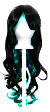 30'' Long Curly w/ Long Black and Seafoam Green Cosplay Lolita Wig NEW