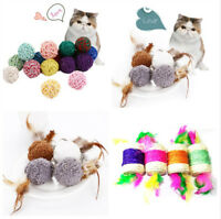 Pet Cat Kitten Feather Sisal Rope Ball Colorful Mouse Scratching Chew Toy w/
