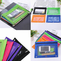1x Zippered Binder Pencil Pouch with 3 Holes Pencil Transparent Bag Oxford cloth