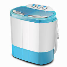 Portable 9.9lbs 1300RPM Mini Twin Tub Compact Washer  - White/Blue