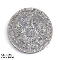 10 Kreuzer 1870 Franz Joseph I. - Österreich Austria - Silber