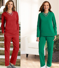 NEW American Two Piece Soft Fleece Pant & Tunic Knit Pullover Top Lounge Set