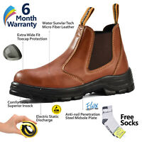 Safetoe Brown Leather Work Boots Safety Shoes Steel Toe Slip on Water-resistant
