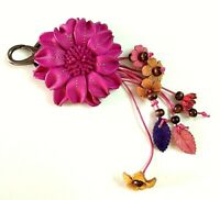 Keychain Genuine Leather Flower Pink Keyring Handcraft Floral Bag Purse Gift
