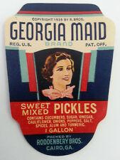 Vintage 1930s Georgia Maid Sweet Pickles Label Roddenbery Bros. Cairo, Georgia