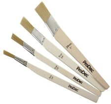 ProDec 4pc Flat Angled Small Fitch All Paint Type Brush Set Synthetic Cutting in