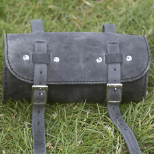 Bike Roll Tool Bag Real Leather Vintage Retro RAW BLACK GRAPHITE
