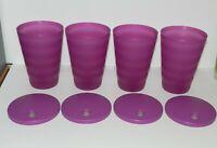 4 Tupperware Jewel Tones 16 oz Tumblers Cups w Lids 3515A-3 & 4184A-6