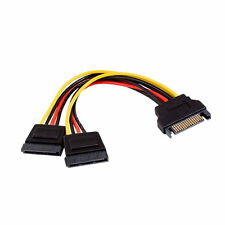 6 In SATA Male to 2x SATA 15 Pin Female Y-Splitter Power Supply Cable Serial ATA