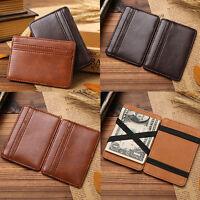 Men Women Magic Flip Leather Wallet Ultra Slim Line Credit Card Holder Purse Bag