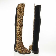 Women's Unisa Gillean Shoes Leopard Print Textile Over The Knee Boots Sz 5 M NEW