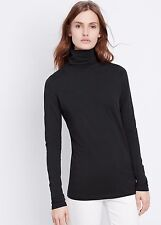 NEW VINCE Stretch Pima Jersey Long Sleeve Layering Turtleneck Top Shirt black M