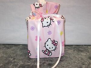 Hello Kitty light pink cotton Fabric square Tissue Box Cover, handmade