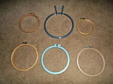 Lot Of 6 Embroidery Hoops In 5 Different Sizes/Wooden & Plastic