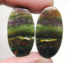 NATURAL BLOOD STONE CABOCHON OVAL SHAPE PAIR 21 CTS LOOSE GEMSTONE D 5830