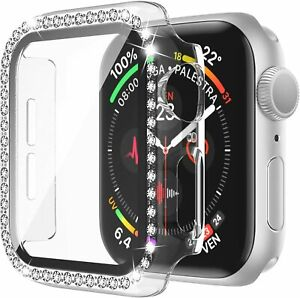For Apple Watch SE 40mm 44mm 42mm 38mm Bling Diamond Case with Screen Protector