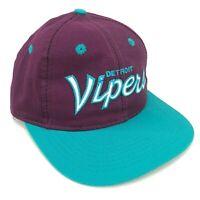 Vintage Detroit Vipers Sports Specialties Script Snapback Hat Purple Teal White