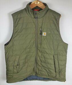 Carhartt Mens XL Puffer Vest Sleeveless Jacket Full Zip Green Outdoor Hunting