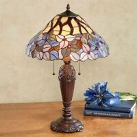 Elina Stained Glass Table Lamp Purple Each with CFL Bulb