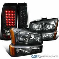 03-07 Chevy Silverado Pickup Black Headlights+Bumper Lamps+LED Rear Tail Lights