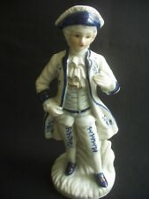 "ELEGANT VINTAGE BLUE & WHITE CHINA FIGURINE ~VERY STRIKING ~7.25"" TALL"