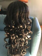 Fashion Curly Wavy Wig Bangs Full Wig brown Hair For Women Cosplay