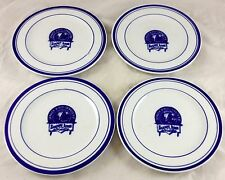 "4 Pcs Denver Rio Grande RR Railroad 6"" Bread Dessert Plate Cobalt Blue on White"