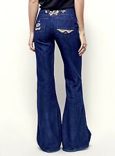 NEW Free People dark denim Floral Embroidered Flare Jeans button fly 25