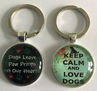 Handmade Dog glass key ring keychain keyring fob bag charm keep calm, paw prints