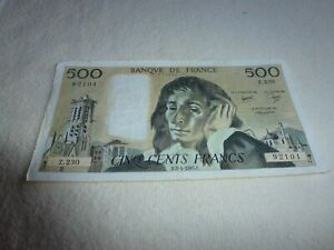 BILLET DE 500 FRANCS  PASCAL 1985