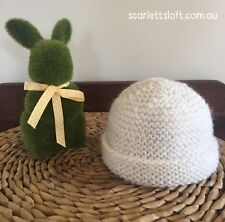 Newborn Baby Beanie In White. Hand Knitted In Soft Wool.