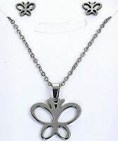 """Butterfly Set Stainless Steel Necklace Earring Hypoallergenic Gift Easter 19"""""""