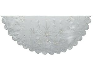 Kurt Adler Silver Scallop Edge Hand Embroidered  Holiday Tree Skirt 48 Inches