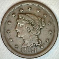1851 Braided Hair Liberty Head Large Cent US Copper Type One Cent Coin Fine K26