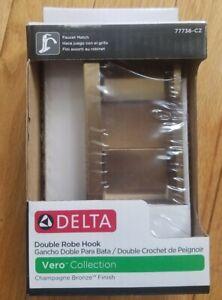 Delta Double Robe Hook Vero Collection Champagne Bronze finish 77736-CZ NEW NIB